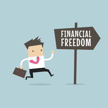 Businessman with Financial Freedom sign. Business Concept