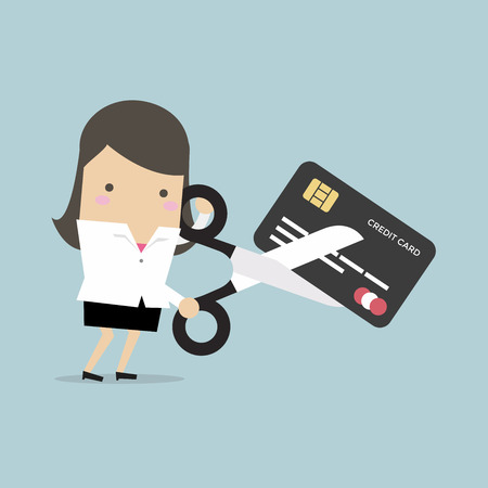 Businesswoman cutting credit card. vector Illustration