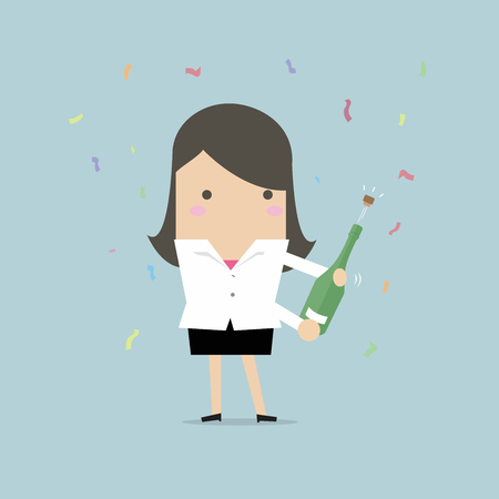 Businesswoman uncorking a bottle of champagne. vector