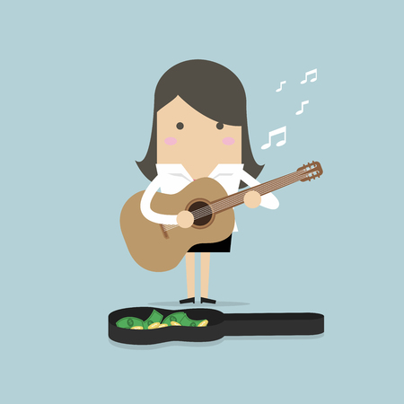 Businesswoman playing guitar for money vector Illustration