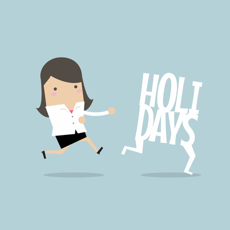 Businesswoman running catch up holidays.