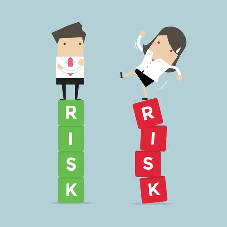 Bedrijfsrisicobeheer van mensen uit het bedrijfsleven tussen een succes en een mislukking. vector