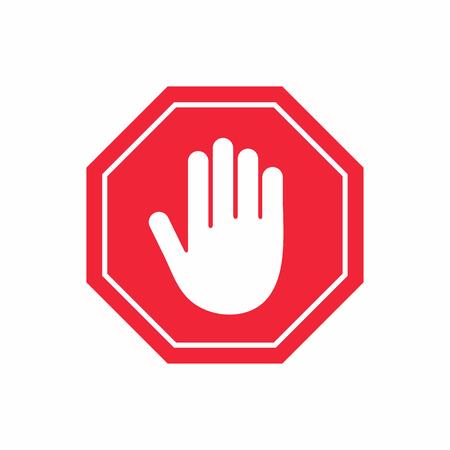 GEEN INGANG teken. STOP HANDgebaar in rode achthoek. Vector Illustratie