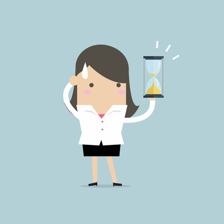 Businesswoman holding sandglass or hourglass, looking and realise it's nearly time up or deadline. vector