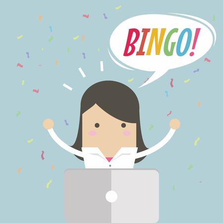 Businesswoman works on laptop and a bingo speech bubble , financial success. vector