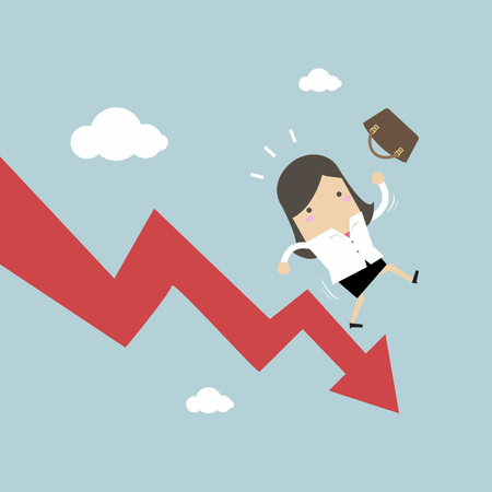 Businesswoman On Falling Down Chart. vector