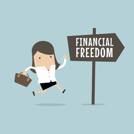 Businesswoman with Financial Freedom sign. Business Concept Illustration
