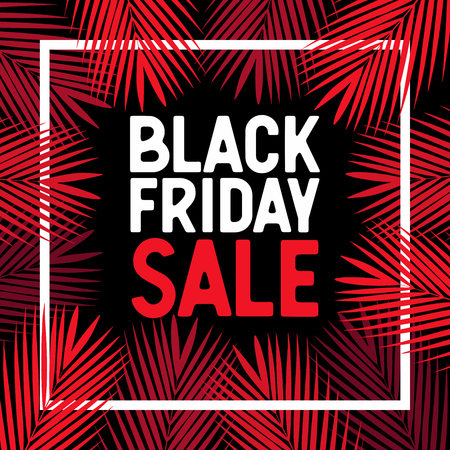 Black Friday Sale. Tropical palm leaves. vector