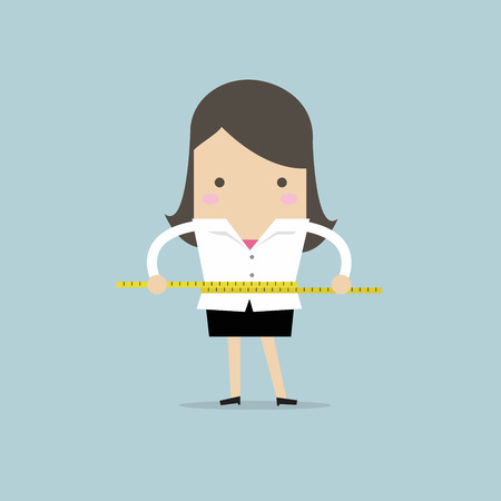 Businesswoman measuring her waist with measure tape. vector Çizim