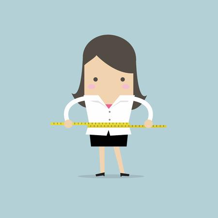 Businesswoman measuring her waist with measure tape. vector Stock Illustratie