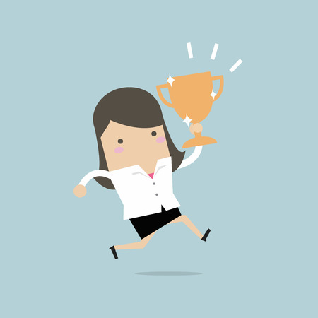 Businesswoman jumping and holding trophy .vector