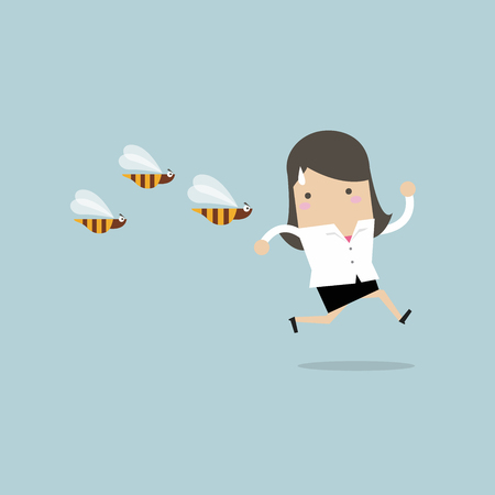 Businesswoman running away from dangerous insects. vector