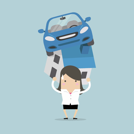 Businesswoman with debt carrying a home and car. vector