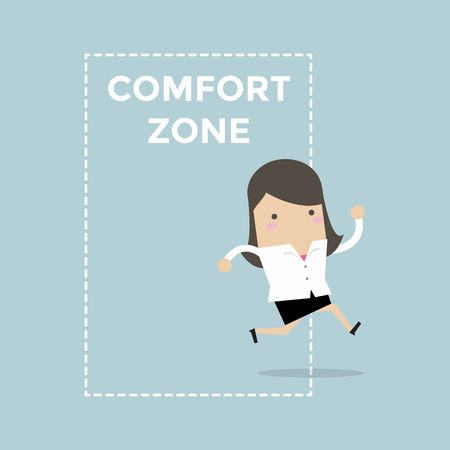 Businesswoman jumping out of the comfort zone to success. Vector Illustration