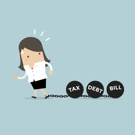 Businesswoman dragging chains and big ball, Debt Tax and Bill burden concept. vector