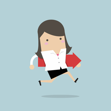 Businesswoman running and hold red arrow. vector