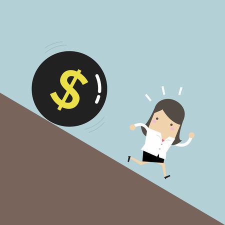 Businesswoman get away money ball down. Vector illustration. Illustration