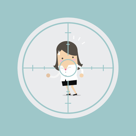 Businesswoman in crosshairs target. Vector illustration.