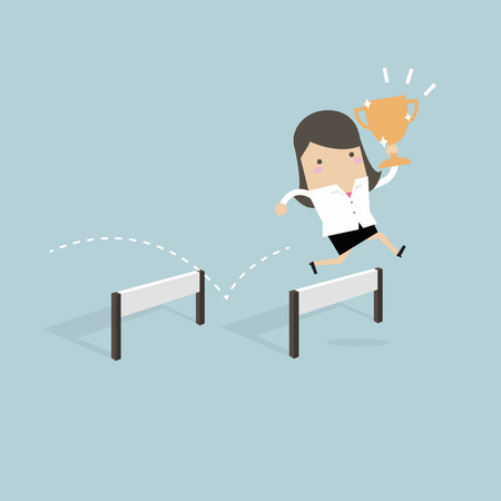 Businesswoman jumping over obstacle and holding trophy. Vector illustration.