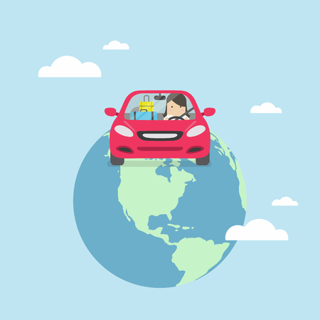 Businesswoman travel around the world by car. Illustration