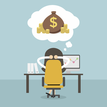 Businesswoman dreaming about money. Vector Illustration