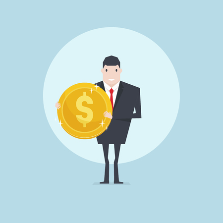 Successful business man holding golden coin in hand. Illustration