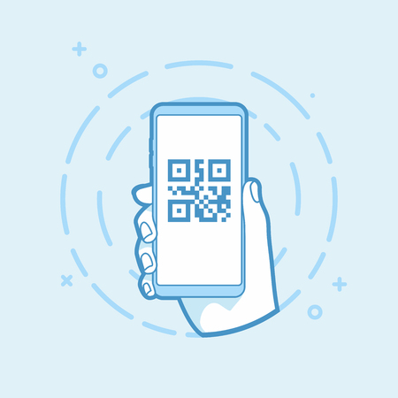 QR code icon on smartphone screen. Hand holding smartphone. Modern vector outline object. Illustration