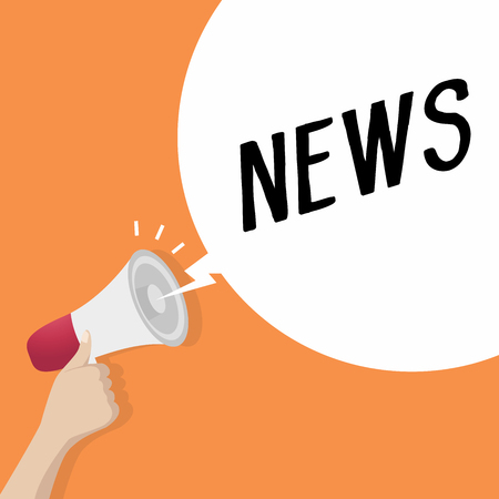 Hand holding loudspeaker or megaphone with speech bubble NEWS. announcement concept. vector Illustration