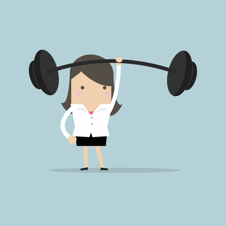 Businesswoman holding a heavy barbell with one hand. vector