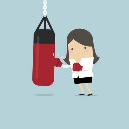 Businesswoman wearing boxing gloves and punching the punch bag. vector Stock Illustratie
