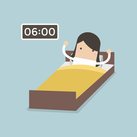 Businesswoman wake up early. Vector illustration.