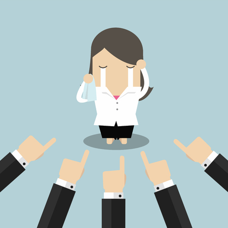 Businesswoman crying with businessman ands pointing at her. Illustration