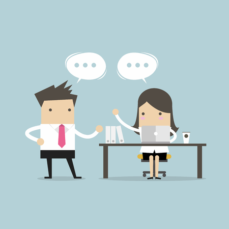 Businessman and businesswoman discussing about business strategy at office. working together and teamwork. Illustration
