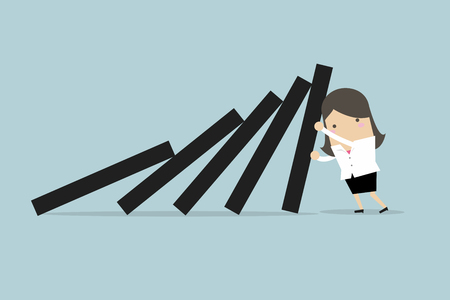 Businesswoman pushing hard against falling deck of domino tiles. Ilustrace