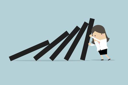 Businesswoman pushing hard against falling deck of domino tiles. Stock Illustratie