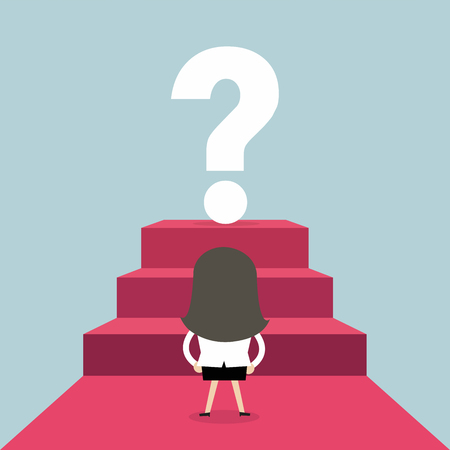Businesswoman looking at big question mark. Business concept vector. Ilustrace