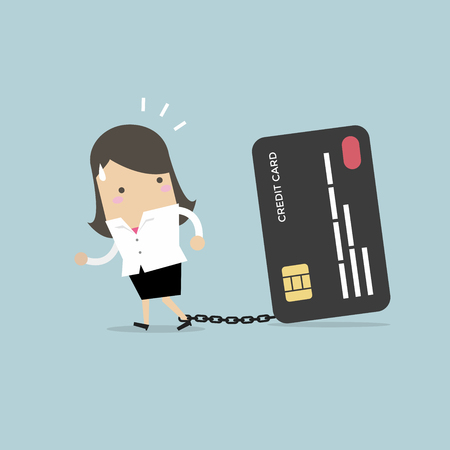 Businesswoman with foot chained to bank credit card trying to escape. Ilustrace