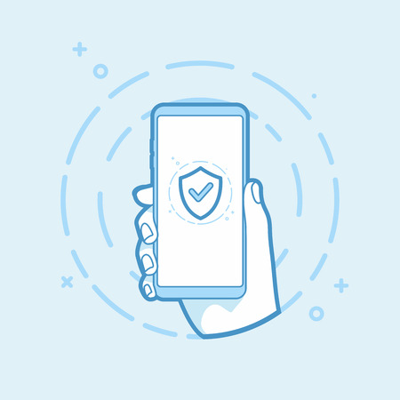 Shield icon on smartphone screen. Hand holding smartphone. Modern vector outline object. 일러스트