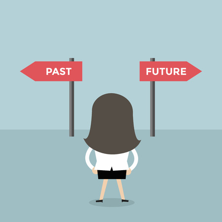 Businesswoman decision about past and future way. vector
