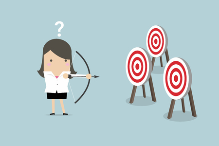 Businesswoman holding bow and arrow confused by multiple bulls eye target. vector