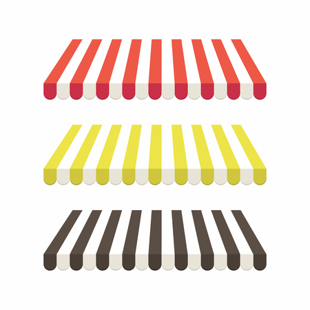 Set of colorful striped awnings for shop and marketplace. vector