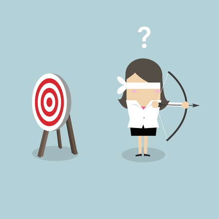 Blindfold businesswoman holding bow and arrow look for target in wrong direction.