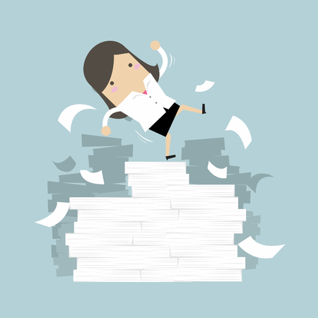 Businesswoman falling off paper mountain.