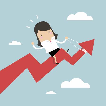 Businesswoman riding success arrow graph.