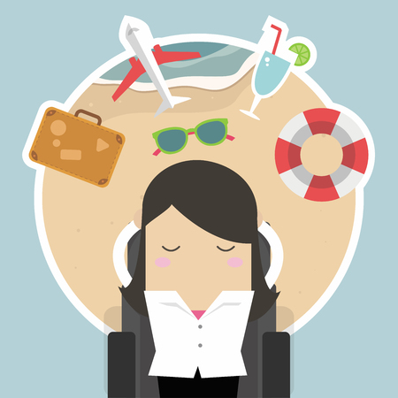 Businesswoman sleep at work and dreaming about her vacation. Illustration