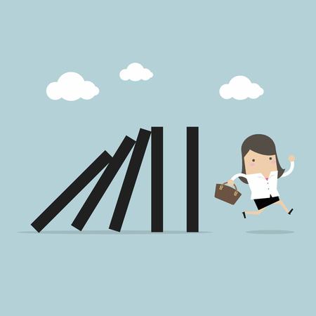 Businesswoman run away domino effect