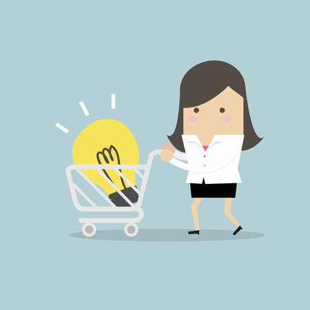 Businesswoman with shopping carting and light bulb Idea. vector
