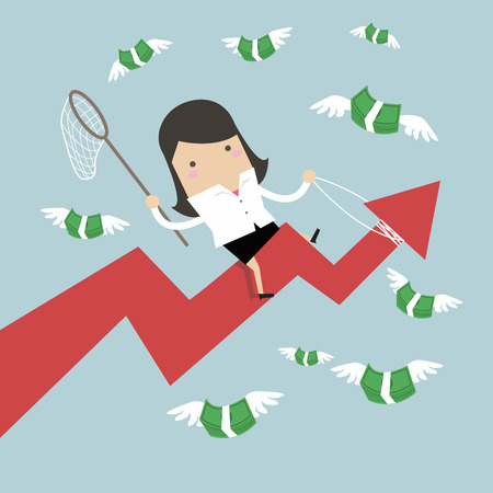 Businesswoman riding success arrow graph trying to catch money fly.