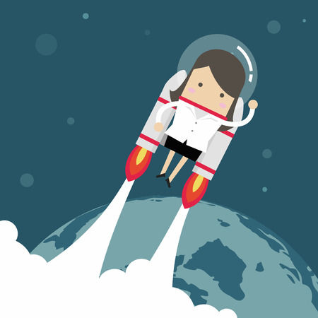 Flying businesswoman with jetpack.