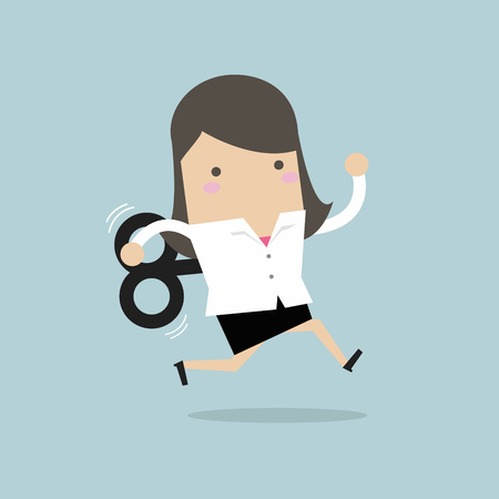 Businesswoman running with wind-up key Çizim